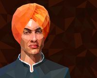 The illustration in the low polygon style - a portrait of a young Muslim in a turban royalty free illustration