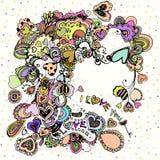 Illustration lumineuse avec les coeurs colorés Images libres de droits