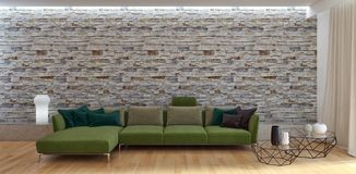 Illustration lumineuse moderne de rendu de l'appartement 3D d'intérieurs Photographie stock libre de droits