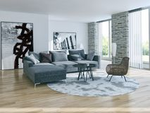 Illustration lumineuse moderne de rendu de l'appartement 3D d'intérieurs Photo libre de droits