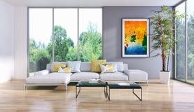 Illustration lumineuse moderne de rendu de l'appartement 3D d'intérieurs Photographie stock
