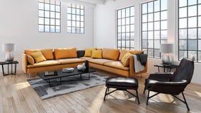 Illustration lumineuse moderne de rendu de l'appartement 3D d'intérieurs Images libres de droits