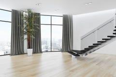 Illustration lumineuse moderne de rendu de l'appartement 3D d'intérieurs Photos libres de droits