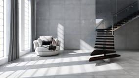 Illustration lumineuse moderne de rendu de l'appartement 3D d'intérieurs Photo stock