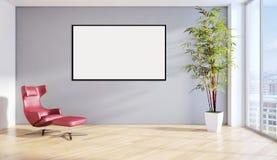 Illustration lumineuse moderne de rendu de l'appartement 3D d'intérieurs Images stock