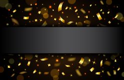 Luxury Celebrations background with falling pieces of metallic gold glitter and confetti. Illustration of Luxury Celebrations background with falling pieces of Stock Images