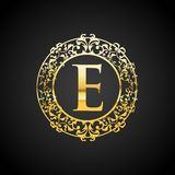 Illustration of gold luxury logo design stock photo