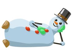 Illustration of lying snowman with hat and mittens Stock Photo