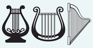 Illustration of lyre. On blue background Stock Photography