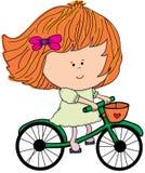 Illustration - Mädchen auf einem Fahrrad Lizenzfreie Stockfotos
