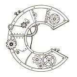 Illustration mécanique de vecteur de gravure de la lettre C Photos stock