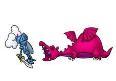 Illustration médiévale de bande dessinée de chevalier de dragon d'agression de conte de fées illustration de vecteur