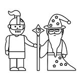 Illustration m?di?vale de vecteur de conception de chevalier et de magicien illustration libre de droits