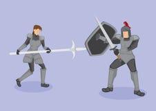 Illustration médiévale de vecteur de scène de combat de guerriers Photos stock