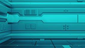 Illustration métallique grunge du fond 3d de couloir de la science fiction illustration stock