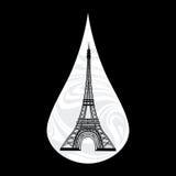Illustration métaphorique des Frances Larme pleurante, pleurant, Paris sur le fond, avec un vecteur de Tour Eiffel Photos libres de droits