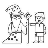 Illustration m?di?vale de vecteur de conception de chevalier et de magicien illustration stock