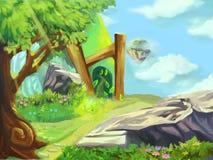 Illustration: Machen Sie eine kurze Pause im Gebirgswaldland Stockfotografie