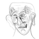 Illustration made on tablet depicting a human face. Digital illustration of a man`s face. Minimalist drawing, pencils, portraying human emotions by facial Royalty Free Stock Photography