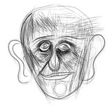 Illustration made on tablet depicting a human face. Digital illustration of a man`s face. Minimalist drawing, pencils, portraying human emotions by facial Stock Photo