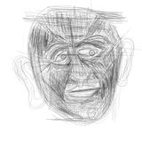 Illustration made on tablet depicting a human face royalty free stock photo