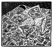 Illustration made from wood engraving depicting a scene of exploitation and injustice royalty free stock images