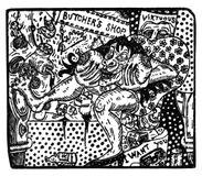 Illustration made from wood engraving depicting a scene of exploitation and injustice. Wood engraving of the gloomy tropics series, made by the artist Márcio Royalty Free Stock Image