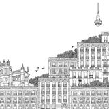 Illustration of Madrid with space for text. Hand drawn black and white illustration of Madrid, Spain, with TV Tower in the background and part of the Palace at vector illustration