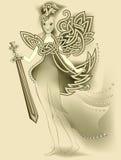 Illustration of magic Celtic fairy holding a sword. royalty free illustration