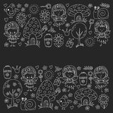 Illustration of magic forest with Fairies Doodle pattern Blackboard Chalk illustration Royalty Free Stock Photography