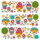Illustration of magic forest with Fairies Doodle pattern for girls and kindergarten, children shop Kids drawing style Stock Images