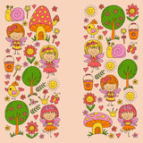 Illustration of magic forest with Fairies Doodle pattern for girls and kindergarten, children shop Kids drawing style. Illustration of magic forest with Fairies vector illustration