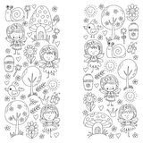Illustration of magic forest with Fairies Doodle pattern for girls and kindergarten, children shop Kids drawing style Royalty Free Stock Images