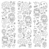 Illustration of magic forest with Fairies Doodle pattern for girls and kindergarten, children shop Kids drawing style Stock Photo