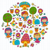 Illustration of magic forest with Fairies Doodle pattern for girls and kindergarten, children shop Kids drawing style Royalty Free Stock Photo