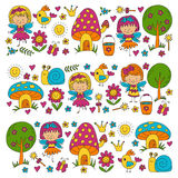 Illustration of magic forest with Fairies Doodle pattern for girls and kindergarten, children shop Kids drawing style Royalty Free Stock Photos