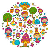Illustration of magic forest with Fairies Doodle pattern for girls and kindergarten, children shop Kids drawing style Stock Photography