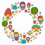 Illustration of magic forest with Fairies Doodle pattern for girls and kindergarten, children shop Kids drawing style Royalty Free Stock Image