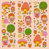 Illustration of magic forest with Fairies Doodle pattern for girls and kindergarten, children shop Kids drawing style Stock Photos