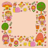 Illustration of magic forest with Fairies Doodle pattern for girls and kindergarten, children shop Kids drawing style Stock Image