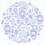 Illustration of magic forest with Fairies Doodle pattern for girls and kindergarten, children shop Kids drawing style Royalty Free Stock Photography