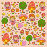 Illustration of magic forest with Fairies Doodle pattern Stock Images