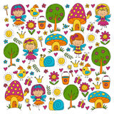 Illustration of magic forest with Fairies Doodle pattern Royalty Free Stock Image