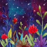 Illustration with magic plants stock illustration