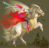Illustration of magic princess wits a sword riding on horse. Stock Photo
