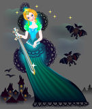 Illustration of magic princess wits a sword in wonderland. Vector image. Scale to any size without loss of resolution Royalty Free Stock Photos