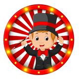 Magician banner with bright bulbs. Illustration of magician banner with bright bulbs Stock Images