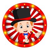 Magician banner with bright bulbs. Illustration of magician banner with bright bulbs Royalty Free Stock Photo