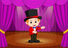 Magician performing on a stage. Illustration of magician performing on a stage Royalty Free Stock Photography
