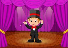 Magician performing on a stage. Illustration of magician performing on a stage Stock Photo